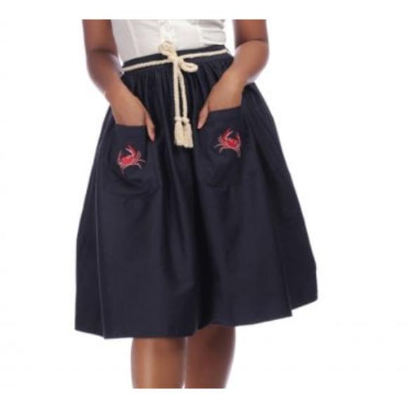 Collectif Mainline Josie Crab Swing Skirt Navy M/8